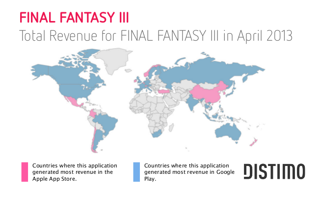 Distimos may report on app revenue in google play and apple app the world map looks completely different for final fantasy iii seeing the biggest chunk of its revenue coming from google play final fantasy iii is a paid gumiabroncs Images