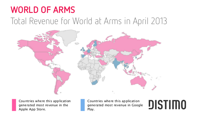 Distimos may report on app revenue in google play and apple app distimo did a world map that presents the revenue of world at arms in pink you can see the countries where the apple app store dominated google play in gumiabroncs Images